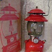 SOLD 1962 Red Coleman 200A195,Single Mantle Lantern, Box, Paperwork,EX
