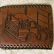 Vintage Boy Leather Fold Over Billfold with Truck