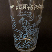 1964 Welch's Flintstones, Fred Goes Hunting Jelly Glass, Hanna Barbera