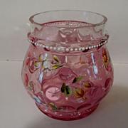 Lovely Cranberry Enameled Inverted Thumbprint Jar