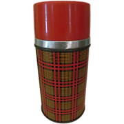 Metal Plaid Thermos, Aladdin Wide Mouth,