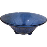 Cobalt Blue Royal Lace 3 Footed Bowl, Hazel Atlas
