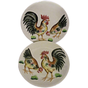 2 Rooster Hen Wall Plaques, Japan