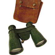 SOLD Bakelite Biascope Wollensak Binoculars with Leather Case