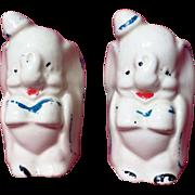 Vintage American Bisque Leeds Pottery Dumbo Salt & Pepper Shakers
