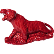 SOLD Cameron Clay Products Burgundy Roaring Tiger Planter