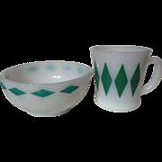Vintage Fire King Green Diamond Mug and Bowl Set