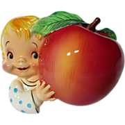 SOLD Vintage PY Japan Baby With Apple Wall Pocket