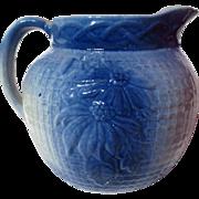 Vintage Poinsettia Blue and White Salt Glazed Stoneware Pitcher