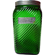 Vintage Owens-Illinois Emerald Green Ruff N Ready Sugar Canister