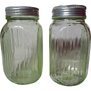 SOLD Hocking Transparent Green Ribbed Depression Glass Shakers