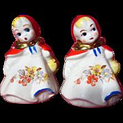 Vintage Hull Pottery Little Red Riding Hood Salt & Pepper Shakers