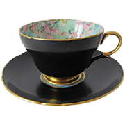SHELLEY Black Satin Cup and Saucer with Melody Chintz Pattern