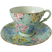 SHELLEY Melody Chintz Patterned Demitasse Cup and Saucer