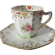 Royal Doulton Hand Enamelled Demitasse Cup and Saucer c.1930