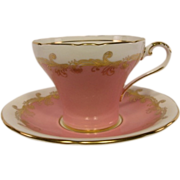 SOLD Vintage AYNSLEY Bubble Gum Pink Corset Shaped Tea Cup & Saucer