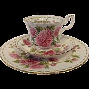 "Royal Albert NOVEMBER Flower of the Month Series ""CHRYSANTHEMUM"" Trio"