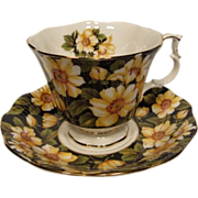 Royal Albert DIANA Tea Cup and Saucer from Black Chintz Series
