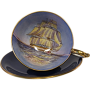 Vintage AYNSLEY Clipper Ship Cobalt Blue Cabinet Tea Cup and Saucer