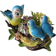 Adorable Vintage Norcrest Bluebirds on Bird Nest