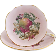 Early PARAGON Fruit and Berries Pink Tea Cup and Saucer