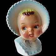 Vintage Sweet Baby Girl Head Vase - Blue Bonnet