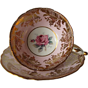 PARAGON Pink with Rich Gilt Overlay DW Tea Cup and Saucer