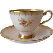 Elegant TUSCAN Pink with Gold Gilt Tea Cup and Saucer