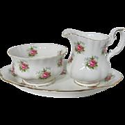 Royal Albert Forget Me Not Rose Creamer, Sugar Bowl and Under Tray
