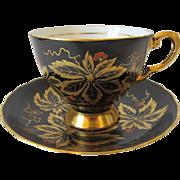 Vintage Black TUSCAN Tea Cup & Saucer