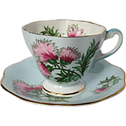 "Vintage FOLEY China ""Glencarry Thistle"" Pattern Tea Cup and Saucer"