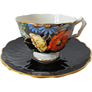 AYNSLEY Black Tea Cup & Saucer with Hand Painted Wild Flowers