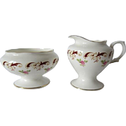 Crown Staffordshire WENTWORTH Pattern Cream & Sugar