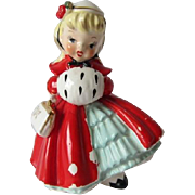Adorable Blonde Christmas Girl Figurine, Napco 1956
