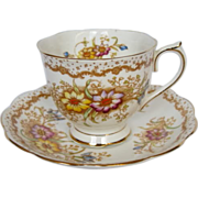"Early Royal Albert Hand Decorated ""Gem"" Tea Cup & Saucer"