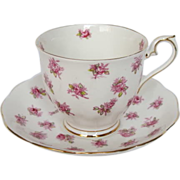 Earlier Royal Albert Tea Cup & Saucer with Pink Rose Buds