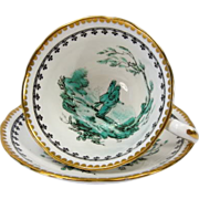 Royal Chelsea Hand Enameled Artist Signed Tea Cup & Saucer dated 1922