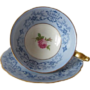 Royal Bayreuth Blue Scrolled Tea Cup and Saucer