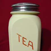 REDUCED Hocking Glass Opaque Yellow Tea Canister ~ Red Lettering