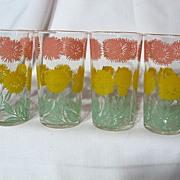 Vintage Chrysanthemum Swanky Swigs ~ Set Of 4