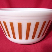 Vintage 1950's Federal Glass Brown Candy Stripe Mixing Bowl