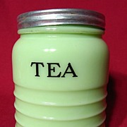 REDUCED Jeannette Jadite Ribbed Tea Canister