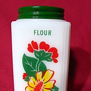 REDUCED Tipp City Yellow Daisy With Red Geranium Milk Glass Flour Shaker