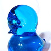 FM Konstglas/Ronneby Swedish Blue Glass Bird