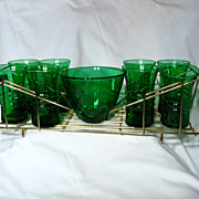 REDUCED Anchor Hocking Forest Green Tumblers Ice Bowl And Carrying Tray