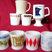 Group Of 8 Assorted Fire King Pyrex Milk Glass Mugs