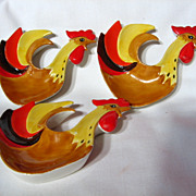 Holt Howard Coq Rouge Rooster Tea Bag Holders