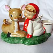 Vintage Holt Howard Deer And Angel Candleholder