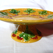 German Majolica Leaf And Berry Pedestal Cake Plate