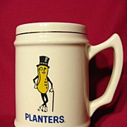 REDUCED Vintage 1960 Mr. Peanut Planters Peanut Ceramic Stein